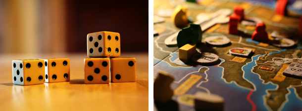 Five ivory dice,  A Game Of Thrones board game detail